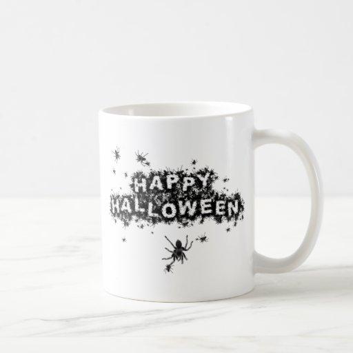 Arañas del deletreo del feliz Halloween Taza De Café