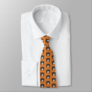 Arañas en un fondo anaranjado corbata personalizada