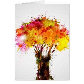 Árbol abstracto del otoño que forma por las tarjeta de felicitación