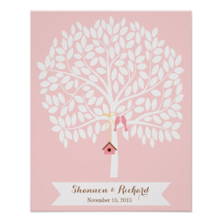 Árbol alternativo del libro de visitas del boda, póster