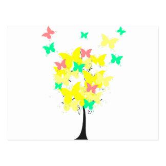Árbol amarillo de la mariposa tarjeta postal