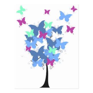 Árbol azul de la mariposa postal