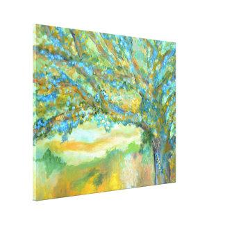 Árbol azul que pinta la lona de arte del paisaje