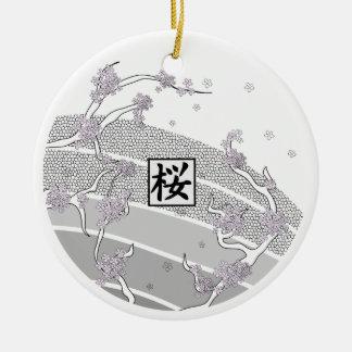 Árbol blanco de la flor de cerezo ornamento para arbol de navidad