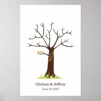 Árbol caprichoso de la huella dactilar con el póster