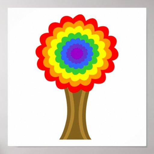 Árbol colorido brillante en colores del arco iris poster
