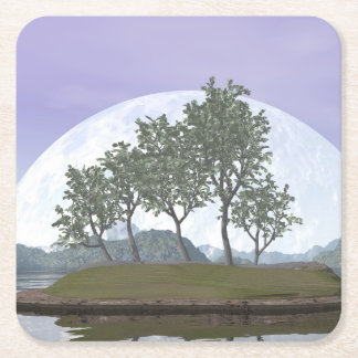 Árbol con hojas liso de los bonsais del olmo - 3D Posavasos De Papel Cuadrado