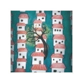 Árbol con las casas lienzo