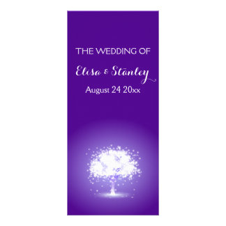 Árbol con programa púrpura chispeante del boda de tarjeta publicitaria personalizada