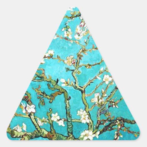 Árbol de almendra floreciente de Vincent van Gogh Calcomanías Triangulos Personalizadas
