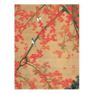 Árbol de arce y pequeños pájaros de Ito Jakuchu Postal