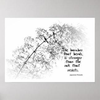 Árbol de bambú con dos curvas de los pájaros en el póster