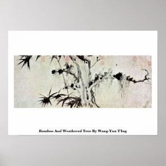Árbol de bambú y resistido por Wang-YUN T'Ing Póster