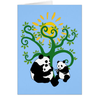 Árbol de familia de la panda tarjeta pequeña
