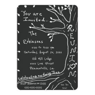 Árbol de familia simple de la reunión de familia invitación 12,7 x 17,8 cm