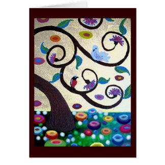 Árbol de Klimt con los pájaros Tarjeta