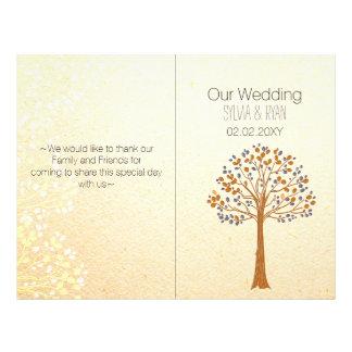 Árbol de la caída, programa rústico del boda del folleto 21,6 x 28 cm