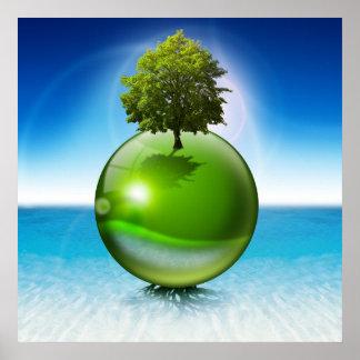Árbol de la esfera - concepto de la ecología poster