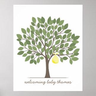 Árbol de la firma del bebé - grande - amarillo póster