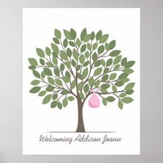 Árbol de la firma del bebé - grande póster