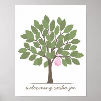 Árbol de la firma del bebé - rosa póster