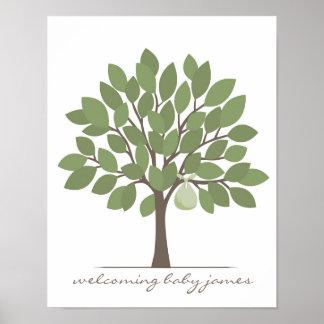 Árbol de la firma del bebé - verde póster
