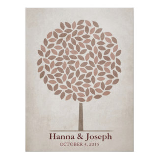 Árbol de la firma del boda - caída rústica póster