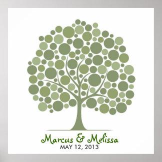 Árbol de la firma del boda - círculos póster