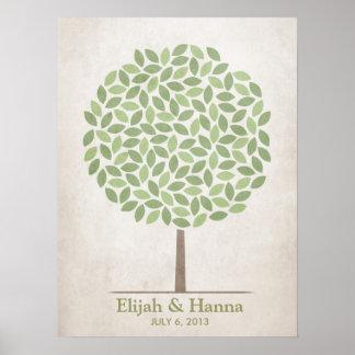 Árbol de la firma del boda - rústico póster
