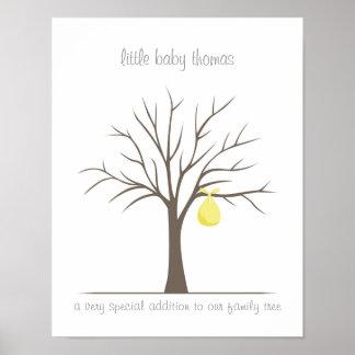 Árbol de la huella dactilar del bebé - amarillo póster