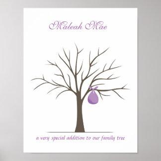 Árbol de la huella dactilar del bebé - púrpura póster