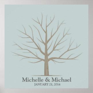 Árbol de la huella dactilar del boda - azul cuadra póster