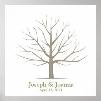 Árbol de la huella dactilar del boda - cuadrado póster