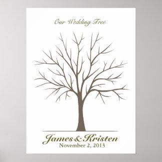 Árbol de la huella dactilar del boda - obra clásic póster