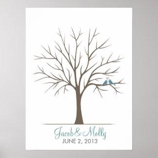 Árbol de la huella dactilar del boda - pájaros clá póster