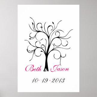 Árbol de la huella dactilar del boda póster