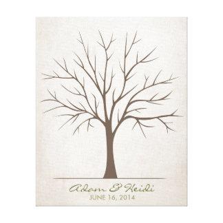 Árbol de la huella dactilar del boda - rústico lienzo