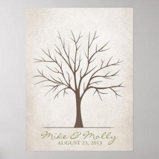 Árbol de la huella dactilar del boda - rústico póster