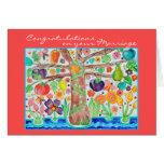 Árbol de la invitación de boda de la enhorabuena d tarjeta de felicitación