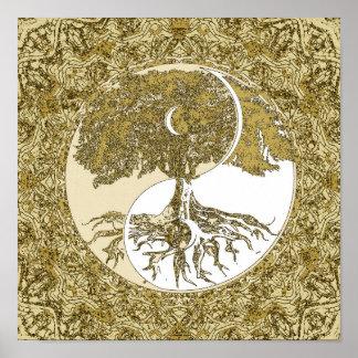 Árbol de la mandala del oro de Yin Yang de la vida Póster