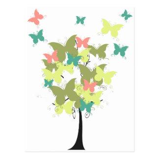Árbol de la mariposa del verde caqui tarjeta postal