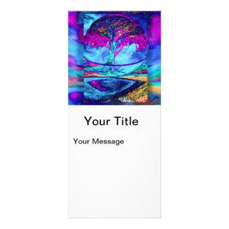 Árbol de la meditación de la vida en púrpura diseño de tarjeta publicitaria