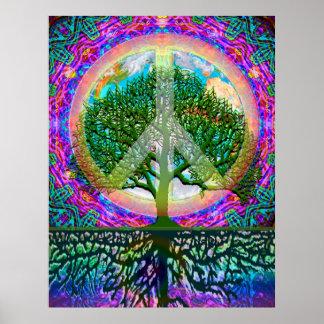 Árbol de la paz de la vida posters