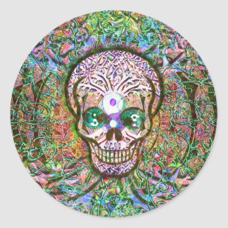 Árbol de la vida, ojos de Yin Yang, cráneo Pegatina Redonda