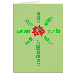 Árbol de las decoraciones de la comida de los tarjeta de felicitación