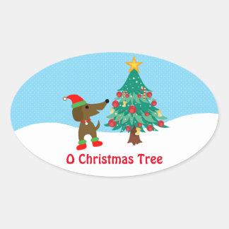 """Árbol de navidad 4,5 x 2,7"""" del Dachshund (hoja de Pegatina Ovalada"""