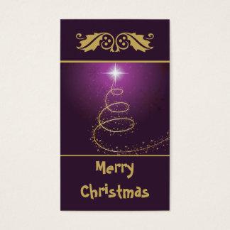 Árbol de navidad abstracto de oro en brillar tarjeta de negocios