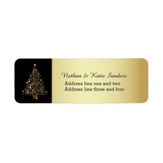 Árbol de navidad adornado del oro etiqueta de remitente