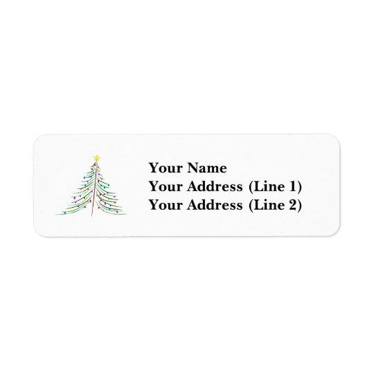 Árbol de navidad adornado etiqueta de remitente