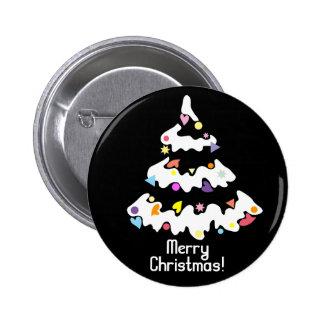 árbol de navidad adornado nevoso pin